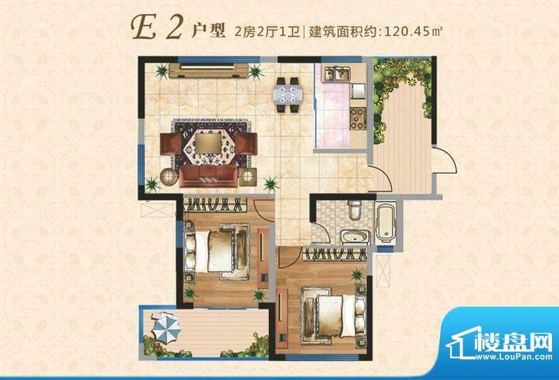 上河时代E2户型 2室面积:120.45m平米