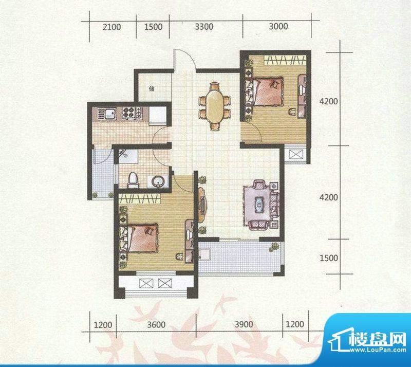 和谐家园G2户型 2室面积:91.00m平米