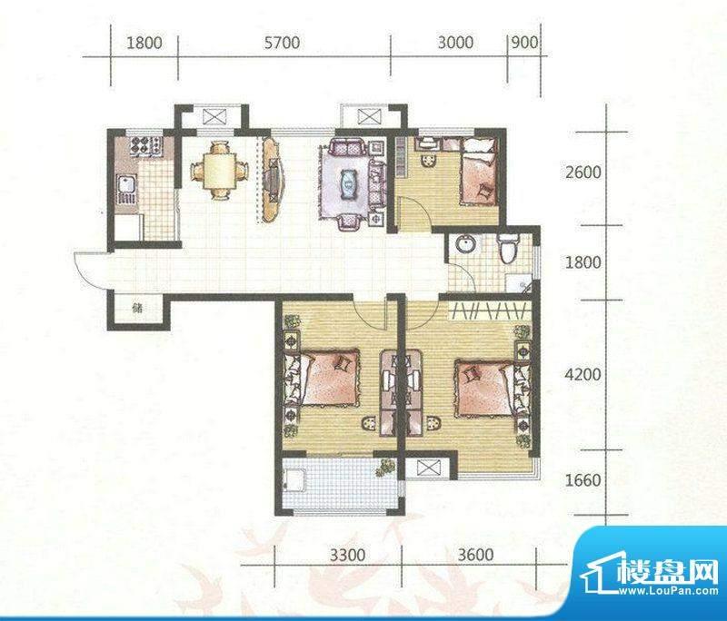 和谐家园G1户型 3室面积:99.00m平米