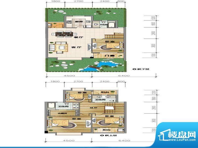 城市山D2-1户型 4室面积:147.29平米