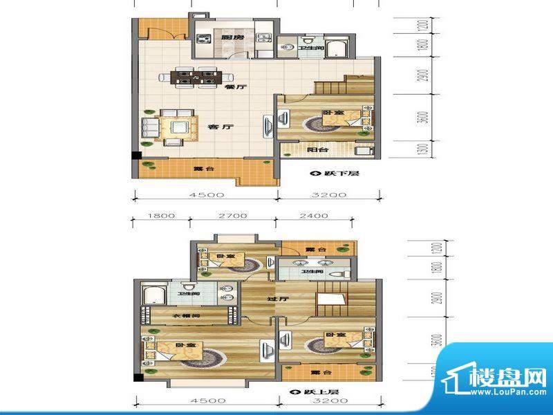 城市山D2-2户型 4室面积:147.66平米