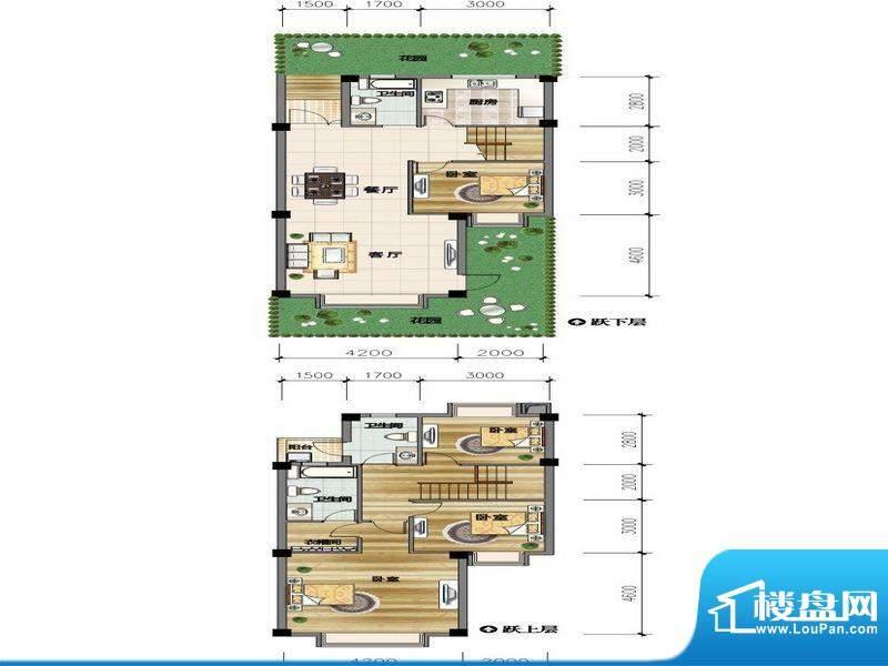 城市山D3-1户型 4室面积:133.60平米