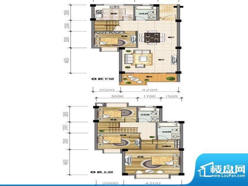 城市山D3-2户型 4室面积:134.61平米