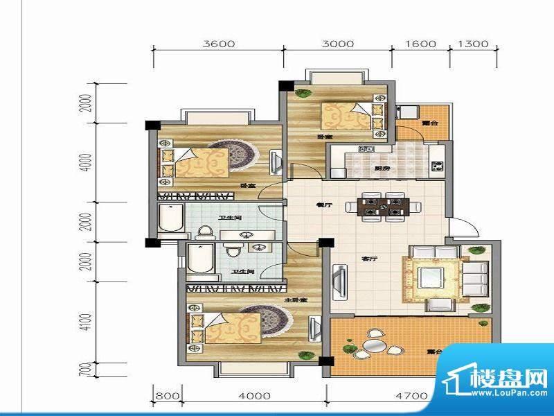 城市山C-5a户型 3室面积:104.66平米