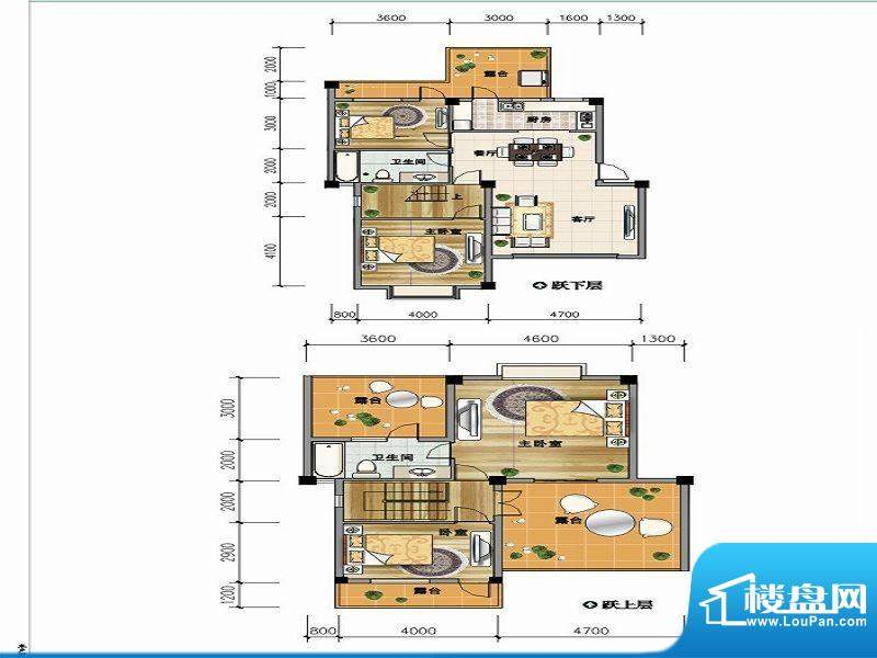 城市山C-6a户型 4室面积:147.44平米