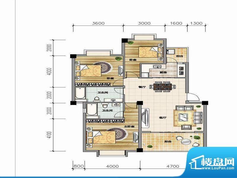 城市山C-4a户型 3室面积:113.90平米