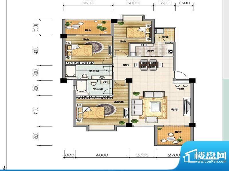 城市山C-3a户型 3室面积:119.11平米