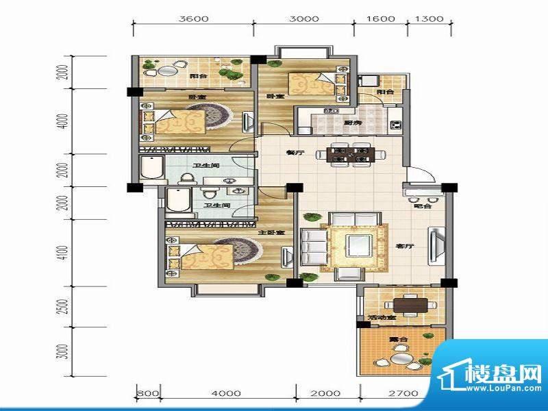 城市山C-2a户型 3室面积:130.70平米