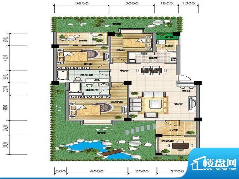 城市山C-1a户型 3室面积:135.10平米
