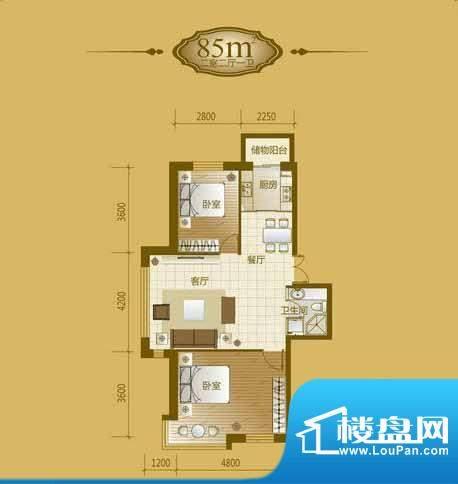 香山美墅2室2厅1卫8面积:85.00平米
