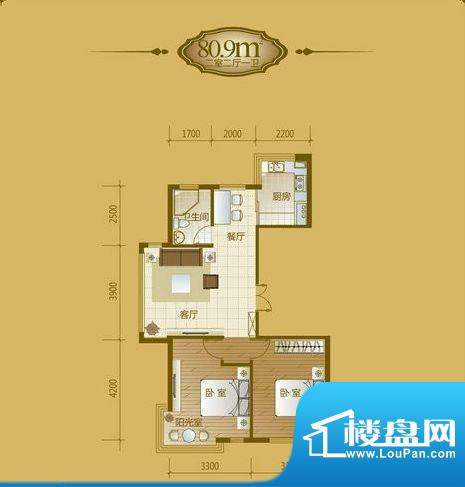 香山美墅2室2厅1卫8面积:80.90平米