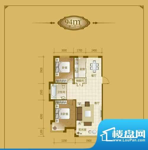 香山美墅2室2厅1卫9面积:94.00平米