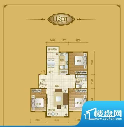 香山美墅3室2厅1卫1面积:113.00平米