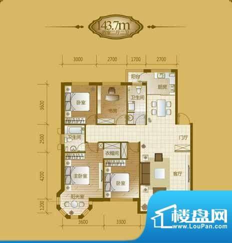 香山美墅4室2厅2卫1面积:143.70平米