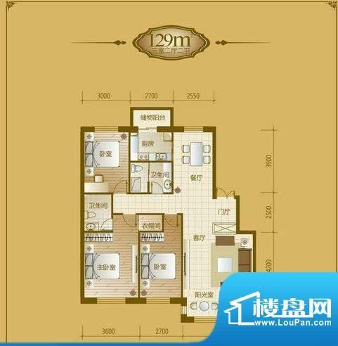 香山美墅3室2厅2卫1面积:129.00平米