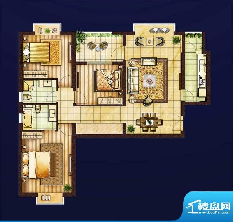 红星国际1#楼A1户型面积:130.00平米