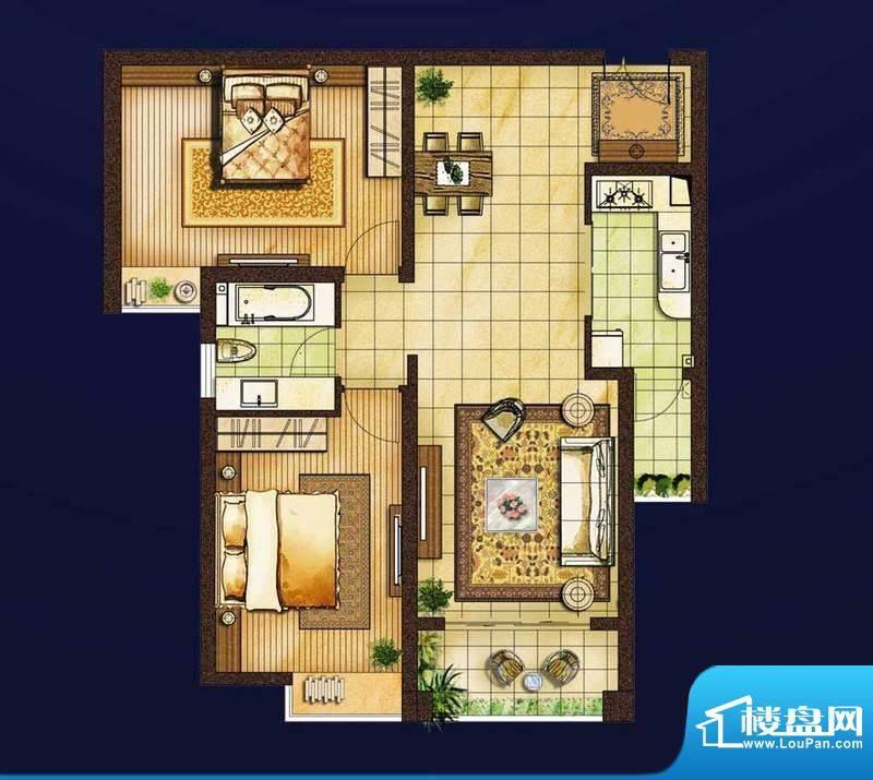 红星国际1#楼A2户型面积:101.00平米