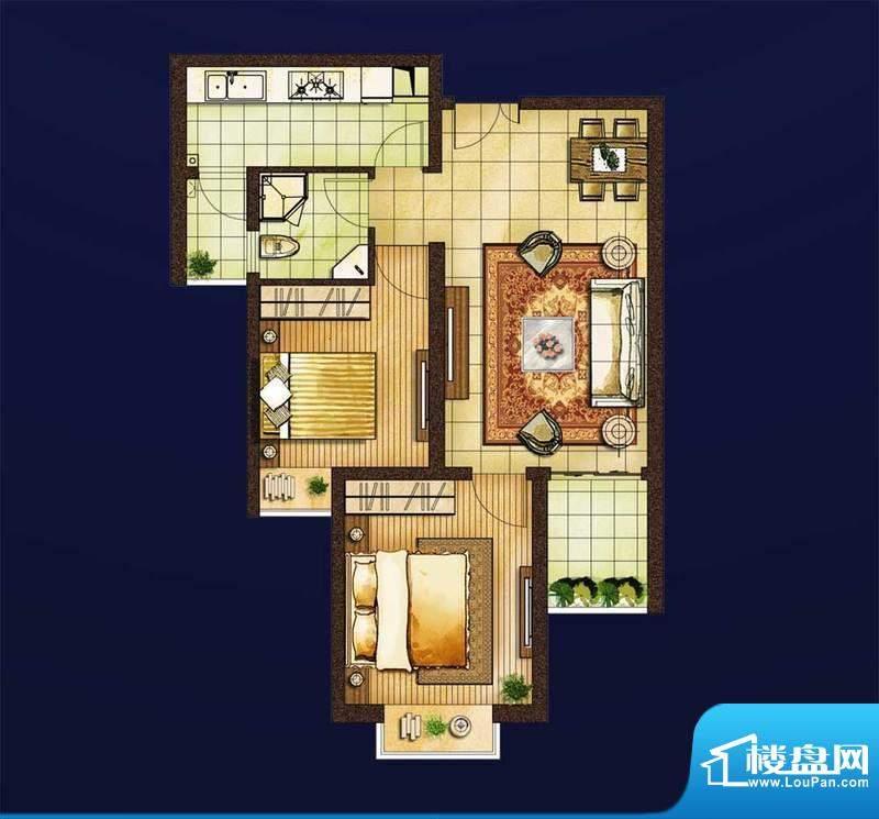 红星国际1#楼A3户型面积:74.00平米