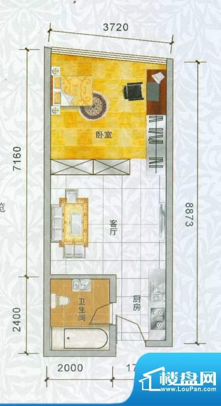 香樟俊园香樟五栋R户面积:44.00平米