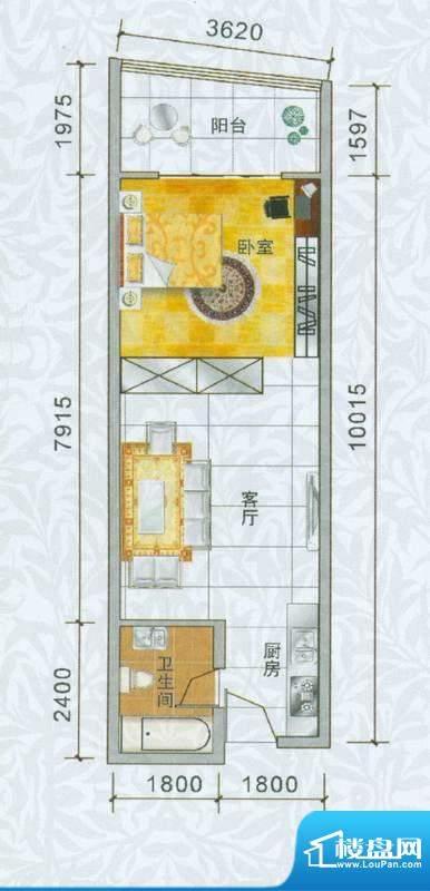 香樟俊园五栋N户型 面积:51.00平米