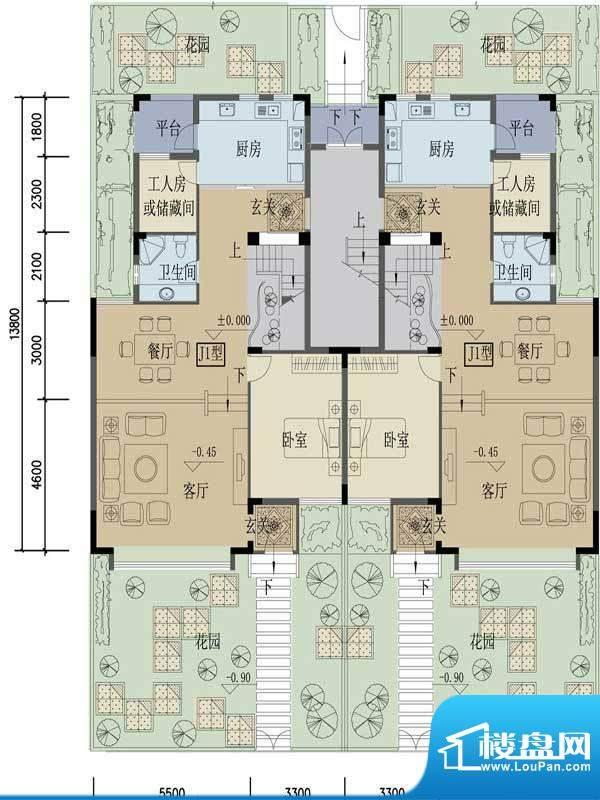 苏云鑫海国际J1户型面积:196.10平米