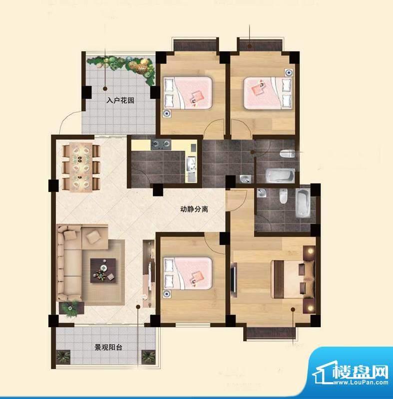 苏云鑫海国际G1户型面积:124.49平米