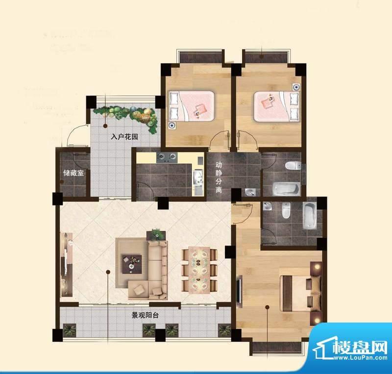 苏云鑫海国际G1户型面积:114.82平米