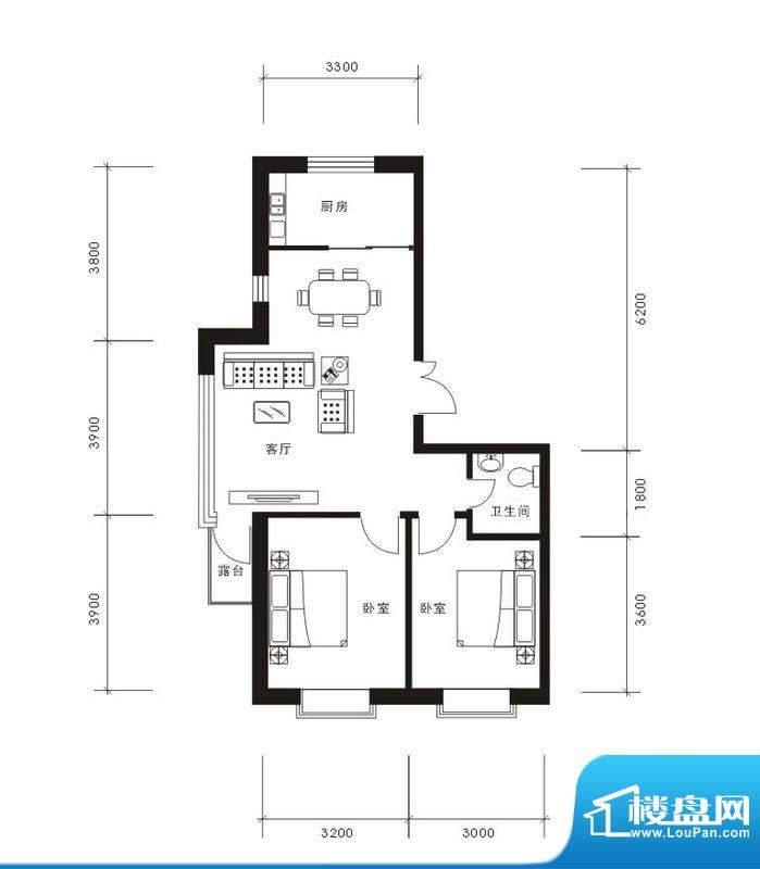 将军·尚层2室2厅1卫面积:83.30平米