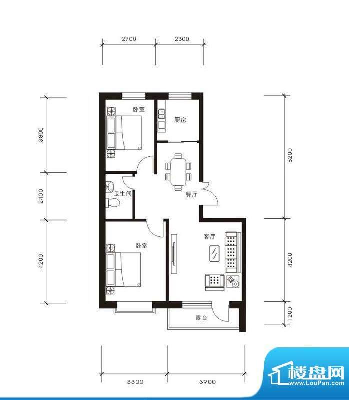 将军·尚层2室2厅1卫面积:85.39平米