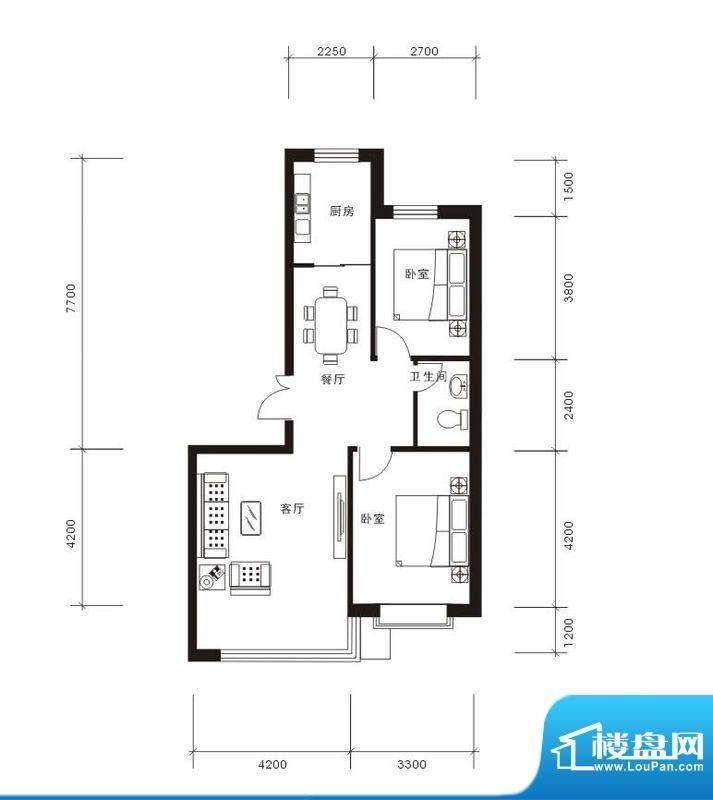 将军·尚层2室2厅1卫面积:98.47平米