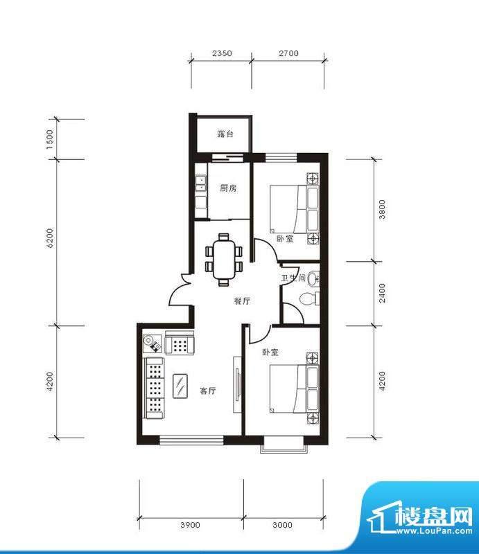将军·尚层2室2厅1卫面积:83.63平米