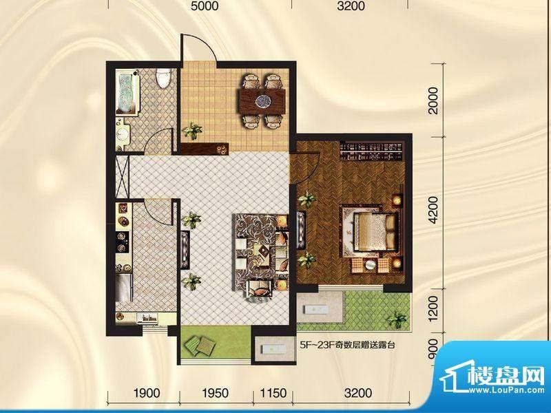 旺力城A2-01 1室2厅面积:64.41平米