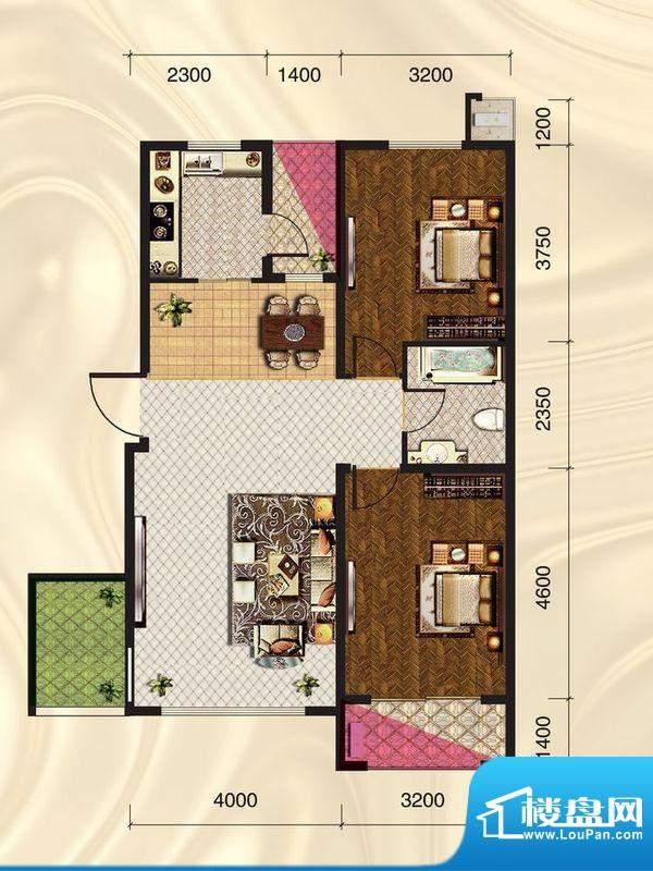 旺力城c3-01 2室2厅面积:98.73平米