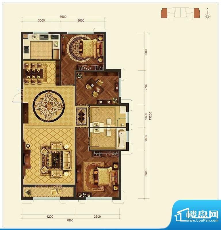 旺力城A户型 3室2厅面积:136.55平米