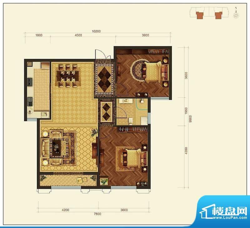 旺力城B户型 2室2厅面积:108.89平米