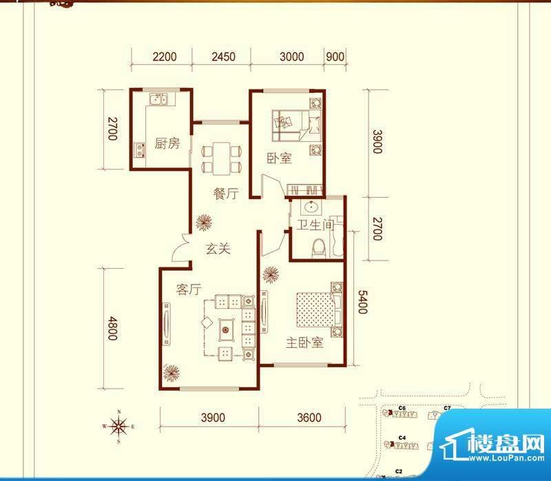 方大上上城C户型 2室面积:95.00平米