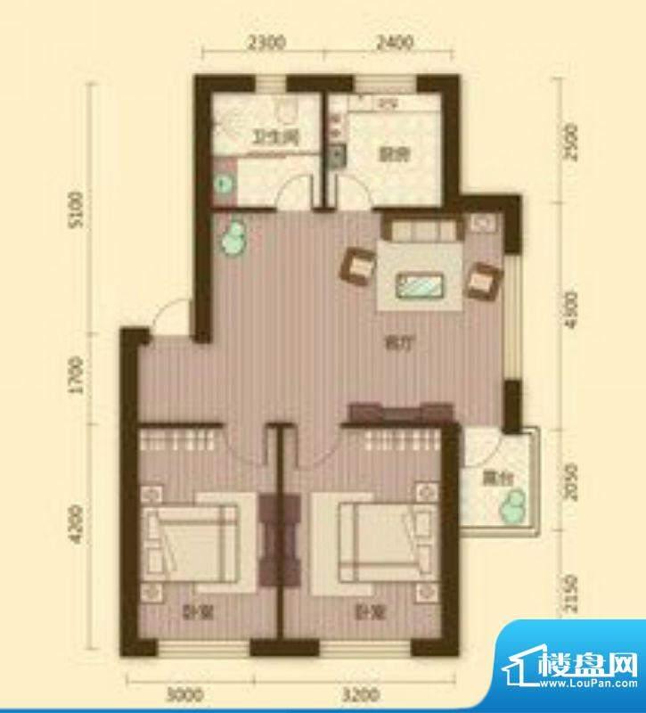 宗裕国际鑫城B2户型面积:80.34平米