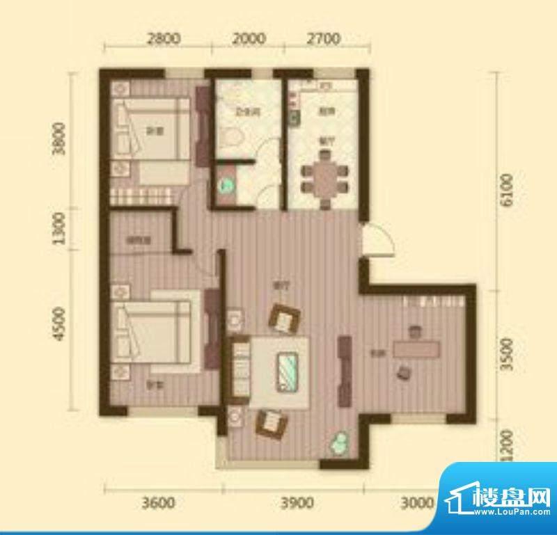 宗裕国际鑫城C户型2面积:100.63平米