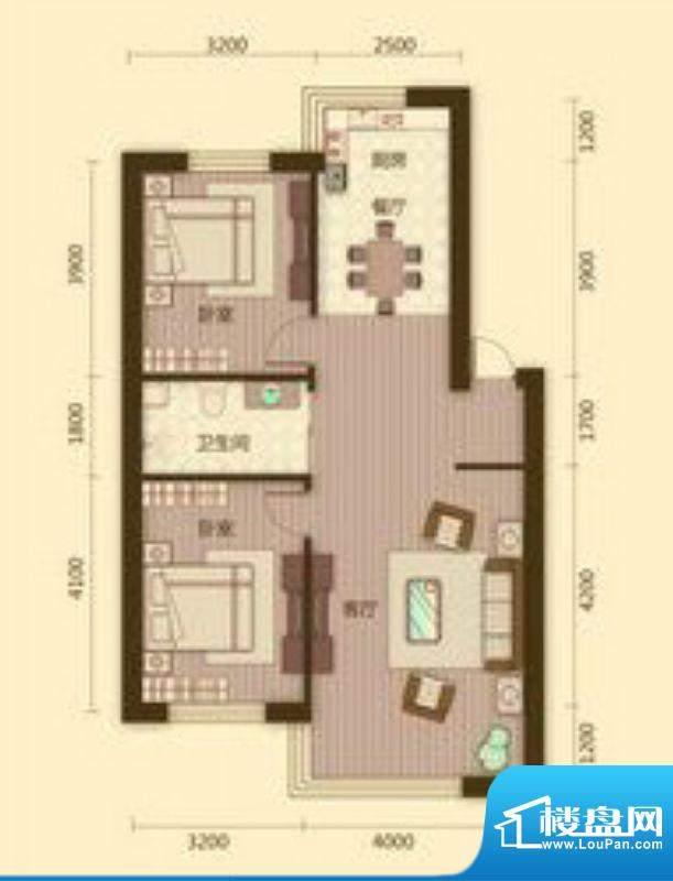宗裕国际鑫城E户型2面积:85.98平米
