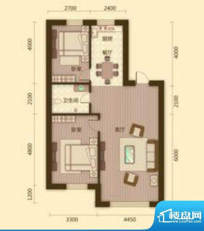 宗裕国际鑫城E1户型面积:98.85平米