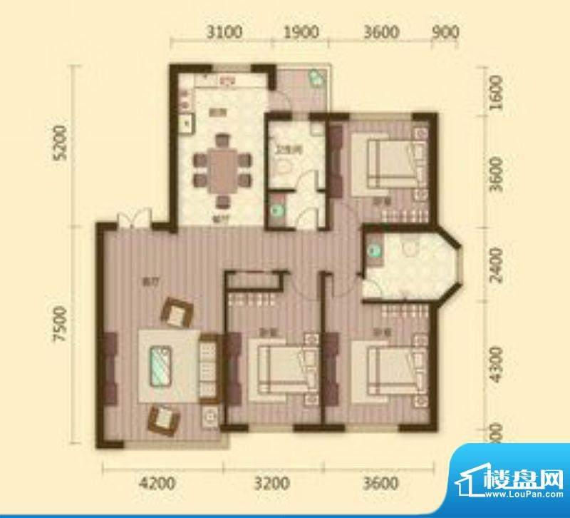 宗裕国际鑫城G1户型面积:133.08平米