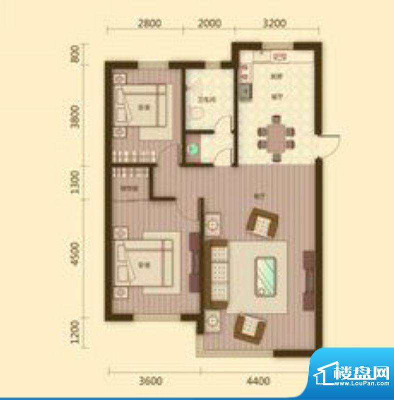 宗裕国际鑫城H户型2面积:107.17平米