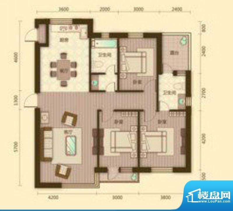 宗裕国际鑫城I户型3面积:133.41平米
