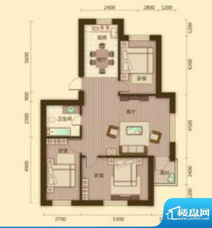 宗裕国际鑫城L户型3面积:117.36平米