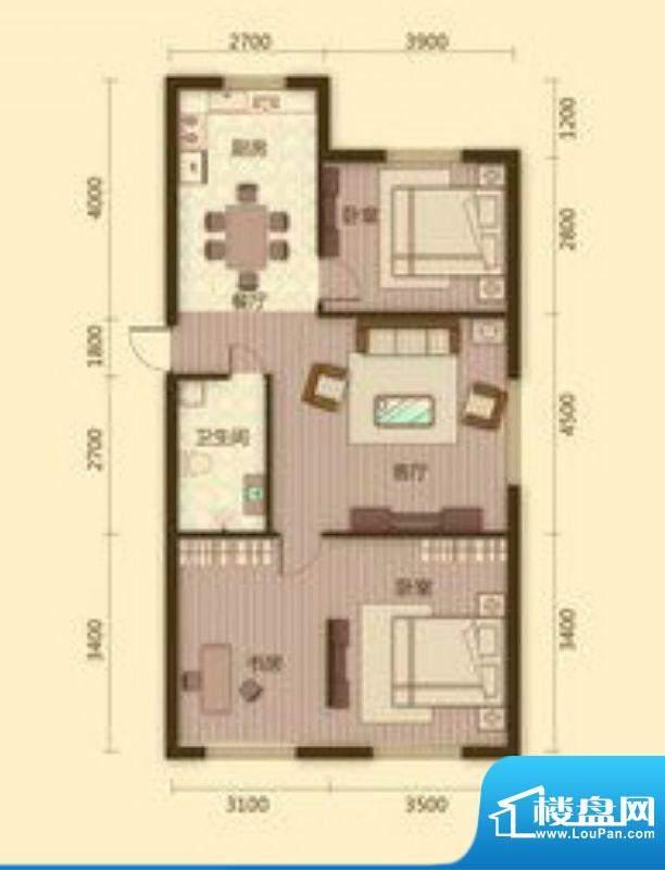 宗裕国际鑫城M户型3面积:100.85平米