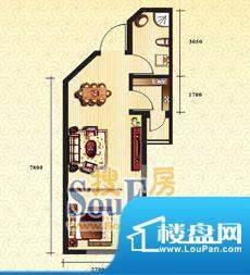 新华国际公寓a户型3面积:41.02平米