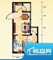 新华国际公寓b户型3面积:54.51平米