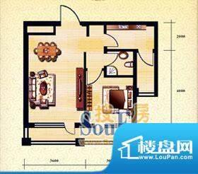 新华国际公寓c户型4面积:61.21平米