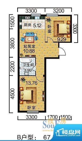 地旺国际B户型 2室1面积:67.71平米