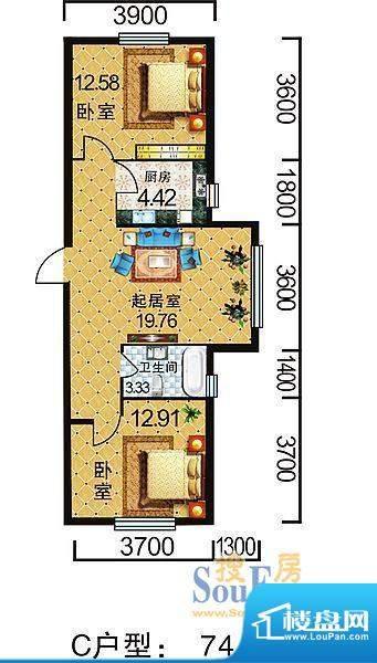 地旺国际C户型 2室1面积:74.76平米
